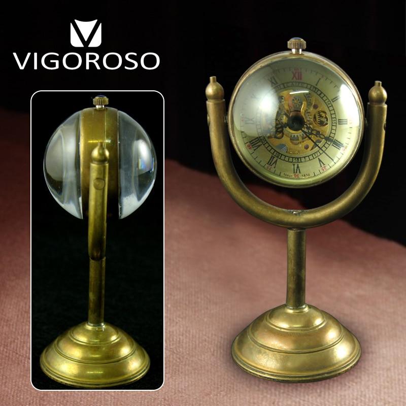 High Quality Genuine Pure Copper Hand Winding Mechanical Stand Desk Watch Ball Glass Clock Men Women Antique Rarity Luxury Gifts