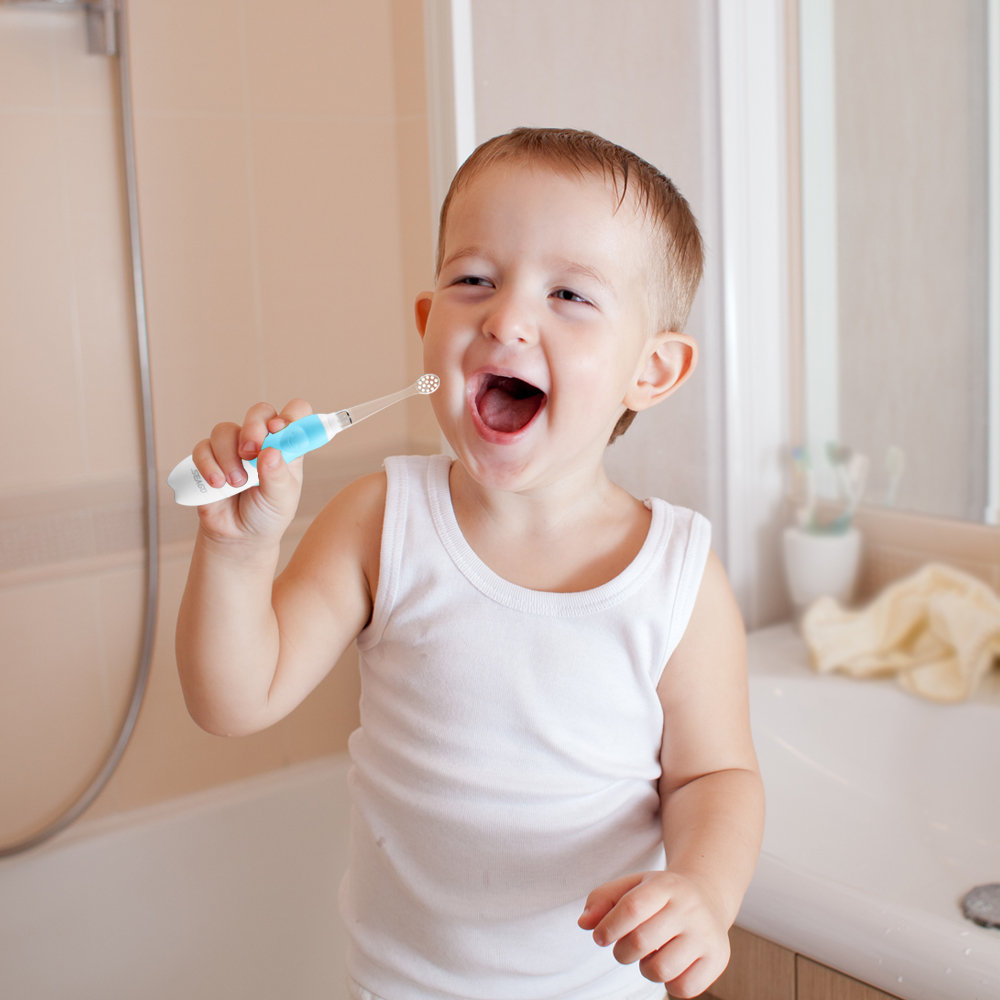 SEAGO Sonic Electric Toothbrush For 0-3 year Infant Baby Children Battery Automatic Teeth brush Waterpro of White LED Light Gift