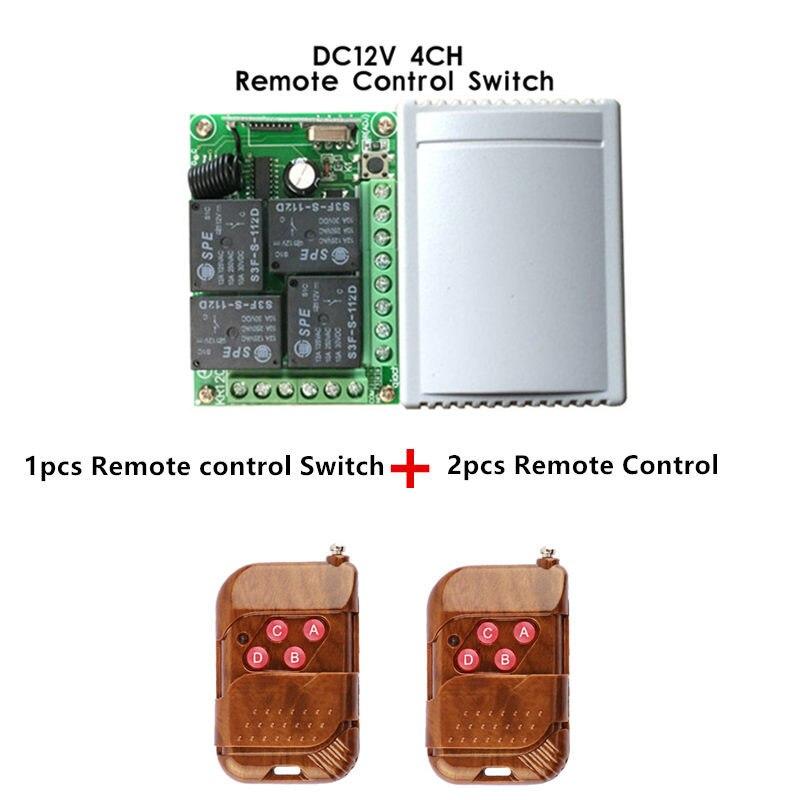 433 Mhz Universel Sans Fil Commutateur de Commande À Distance DC12V 4CH relais Module Récepteur et 2 pcs 4 canal RF À Distance 433 Mhz Émetteur