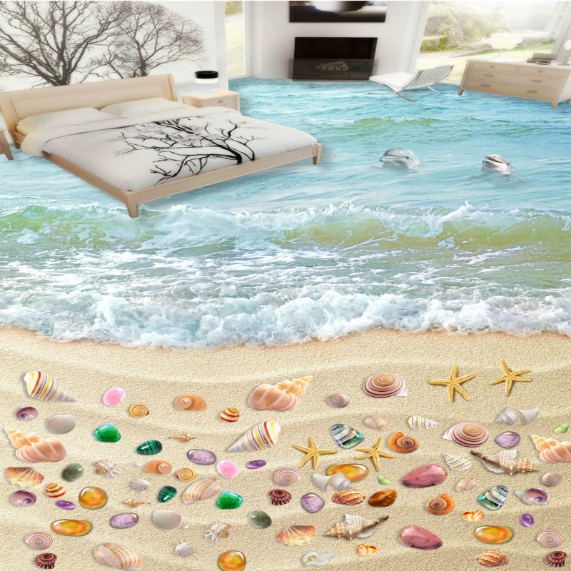 Free Shipping Beach Shell 3D sea spray floor PVC thickened wear non-slip floor living room study lobby wallpaper mural free shipping beach spray 3d dolphin sea floor non slip living room wallpaper office decoration studio wallpaper mural