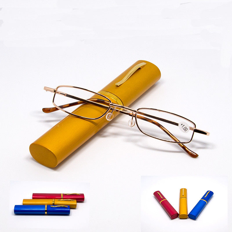 Unisex Reading Glasses With Random Color Metal Tube Case Men Women Presbyopic Glasses Eyeglasses +1.0 1.5 2.0 2.5 3.0 4.0
