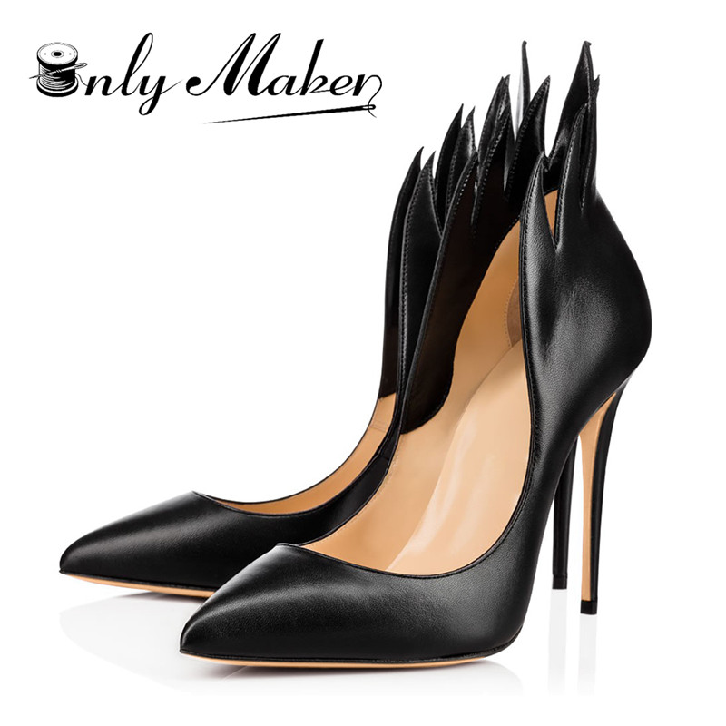 Onlymaker fashion famous designer  High Heels Brand PU Leather Women Pumps Pointed Toe Shoes Woman Plus Size 15 women shoes Lahore