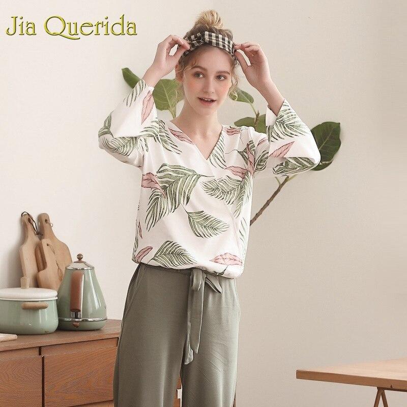 J&Q Beach Style Women   Pajamas     Set   2019 New Spring Trendy Pj   Set   Leisure Home Wear Lingerie   Pajama   100% Cotton Floral Sleepwear