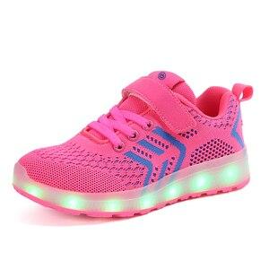Image 5 - サイズ25 37 usb充電器グローイングスニーカーled子供照明靴発光スニーカー少年少女のためのイルミネーション点灯靴