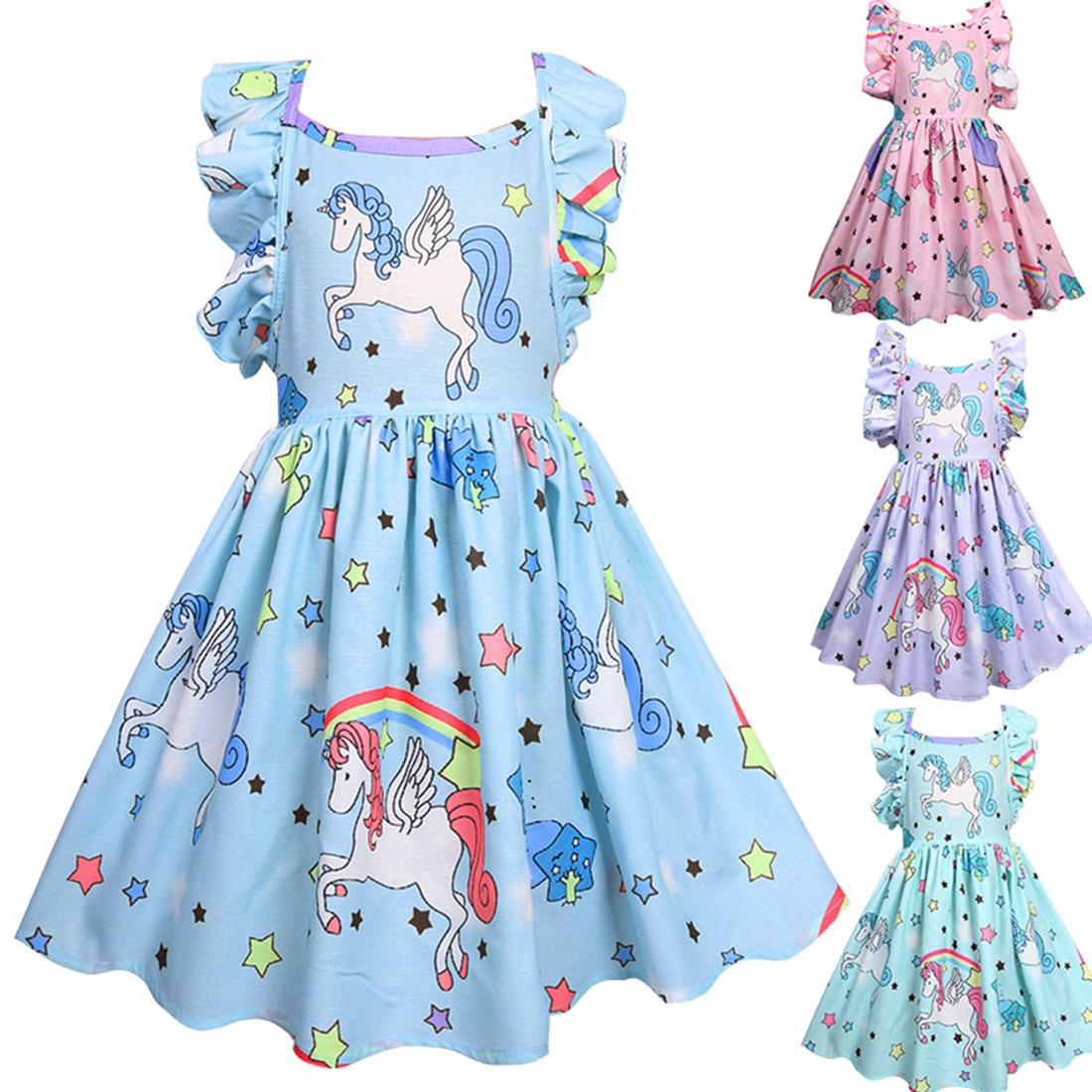 5125 Unicorn Ruffles Princess Party Brithday Baby Girl Dress Summer A line Kids Dresses For Girls