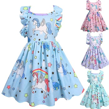 5125 Unicorn Ruffles Princess Party Brithday Baby Girl Dress Summer A-line Kids Dresses For Girls Wholesale Baby Girl Clothes 5P