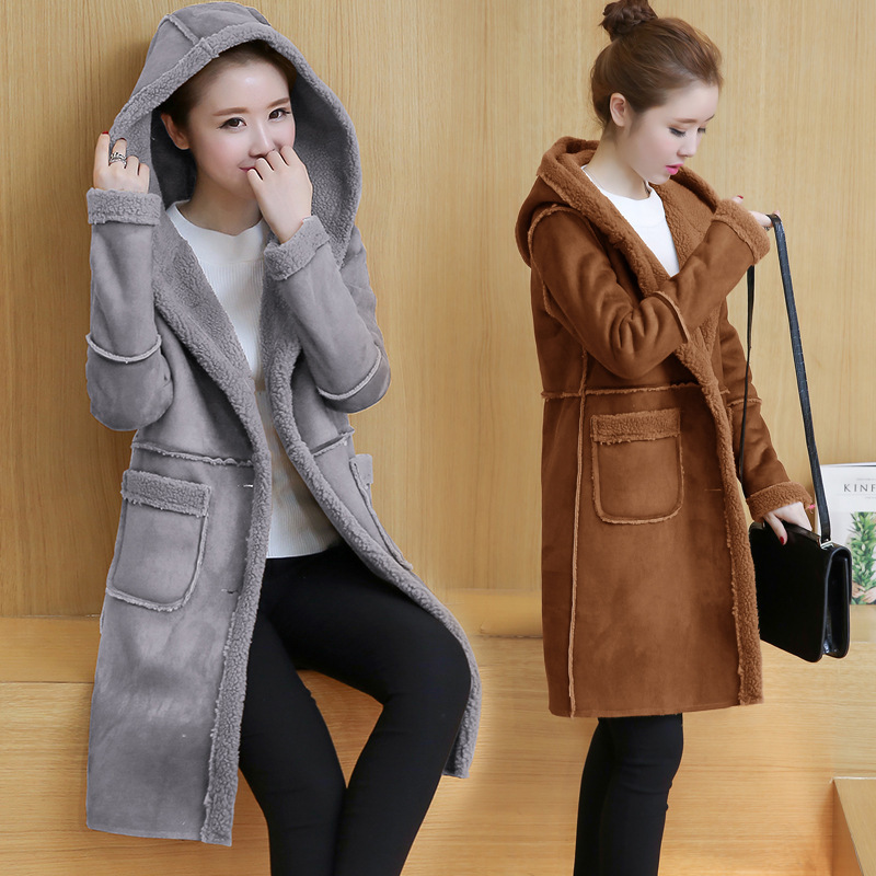 ФОТО 2016Autumn And Winter coat Thickening Deerskin Down Lamb Down Even Hat Long Loose Slim warm Clothes