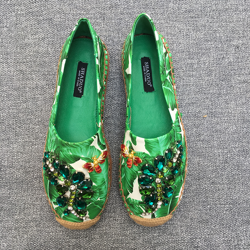 2018 women genuine leather Banana print rhinestone casual shoes flat fisherman shoes loafers-in Women's Flats from Shoes    1