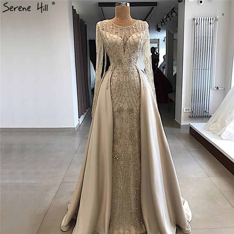 Grey Long Sleeve Sexy Luxury Evening Dress 2019 Mermaid Sequined Beading O-Neck Evening Dress Real Photo LA70174