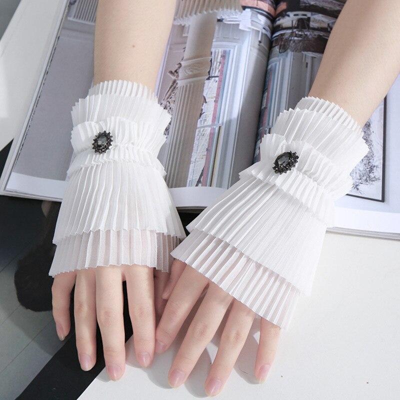 Women Lace Cuffs Fake Sleeves Wrist Cuffs Wristband Dress Decor Accessory New E