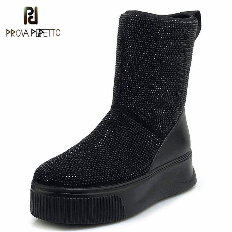 Prova Perfetto สุภาพสตรีกลางลูกวัวฤดูหนาวให้อุ่นหิมะรองเท้าบูทแพลทฟอร์มรองเท้าเซ็กซี่ Rhinestone Night Club Party รองเท้า-ใน รองเท้าบู๊ทครึ่งน่อง จาก รองเท้า บน AliExpress - 11.11_สิบเอ็ด สิบเอ็ดวันคนโสด 1