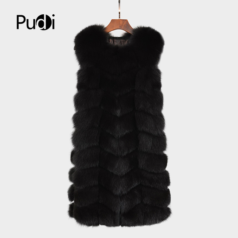 Pudi VT7021  Real Genuine Fox Fur Long Vest Gilet Waistcoat Jacket Women Luxury Winter