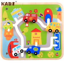 Urban rail Childrens cartoon stereoscopic transportation wooden toys, Car for parking space game toy, Early Training toy