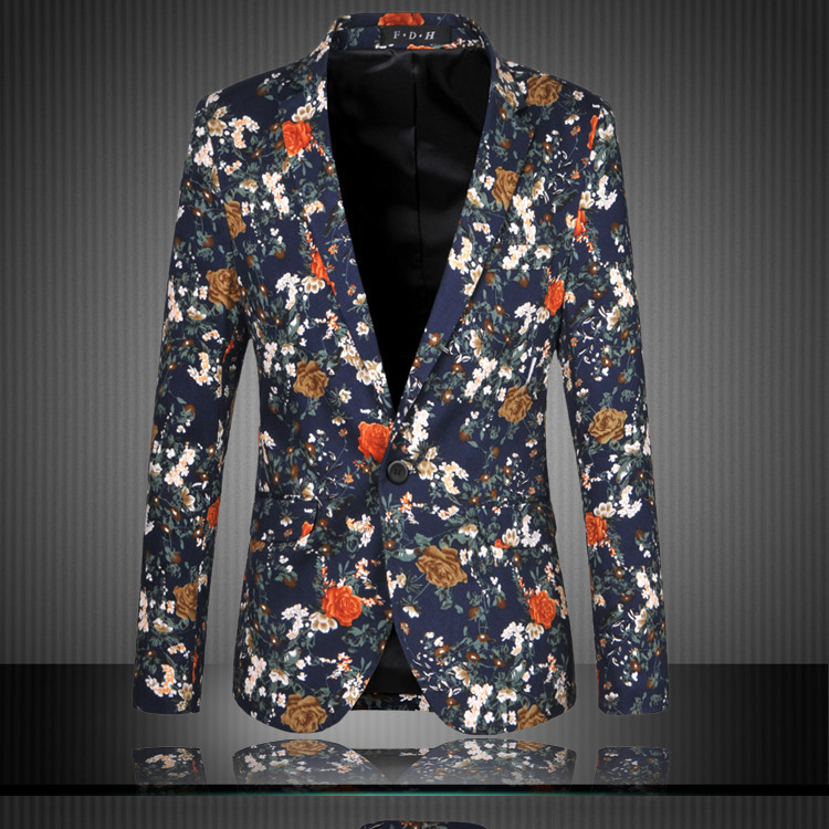Mens Floral Casual Slim Blazers 2017 New Arrival Fashion Party Single Breasted Men Suit Jacket Plus Size M-6XL