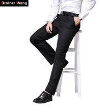 La marca pantalones de Otoño de 2019 nuevos hombres negro Pantalones Casual  de negocios de moda negro Slim Fit pantalones de tra. a78a4a676041