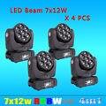4 ШТ./ЛОТ Супер-Яркость Osram LED Луча Moving Головной Свет 7x12 W 4in1 Led 9/16DMX CH Свет Этапа