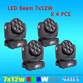4PCS/LOT Super-Brightness Osram LED Beam Moving Head Light 7x12W 4in1 Led 9/16DMX CH Stage Light