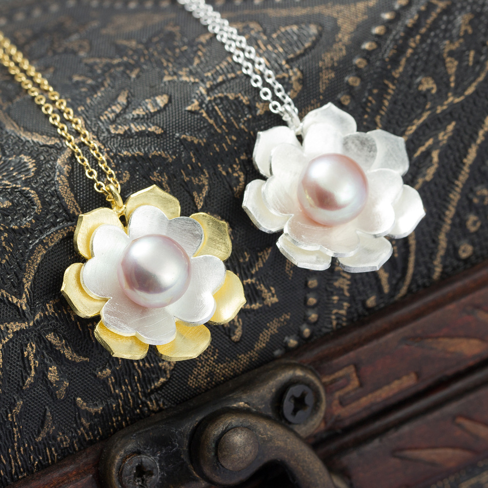 Brand new 925 sterling silver cherry flower necklace natural pearl necklaces & pendants