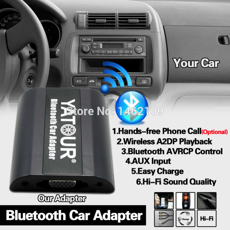 Yatour Bluetooth Car Adapter Digital Music CD Changer (2.4 Switch Cable Connector) For Honda Accord Civic FR-V Legend Jazz Acura yatour digital music car cd changer mp3 usb sd bluetooth aux adapter for honda accord civic crv acura 2004 2011 mp3 interface