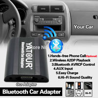 Yatour Bluetooth Car Adapter Digital Music CD Changer (2.4 Switch Cable Connector) For Honda Accord Civic FR V Legend Jazz Acura