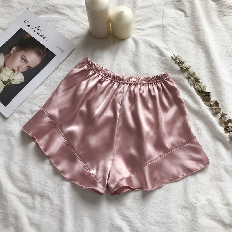 2019 Female Summer Satin Casual Safety Shorts Sexy Simple Ruffled Shorts Pants Elastic Waist Soft Color Sleep Shorts Can Be Worn
