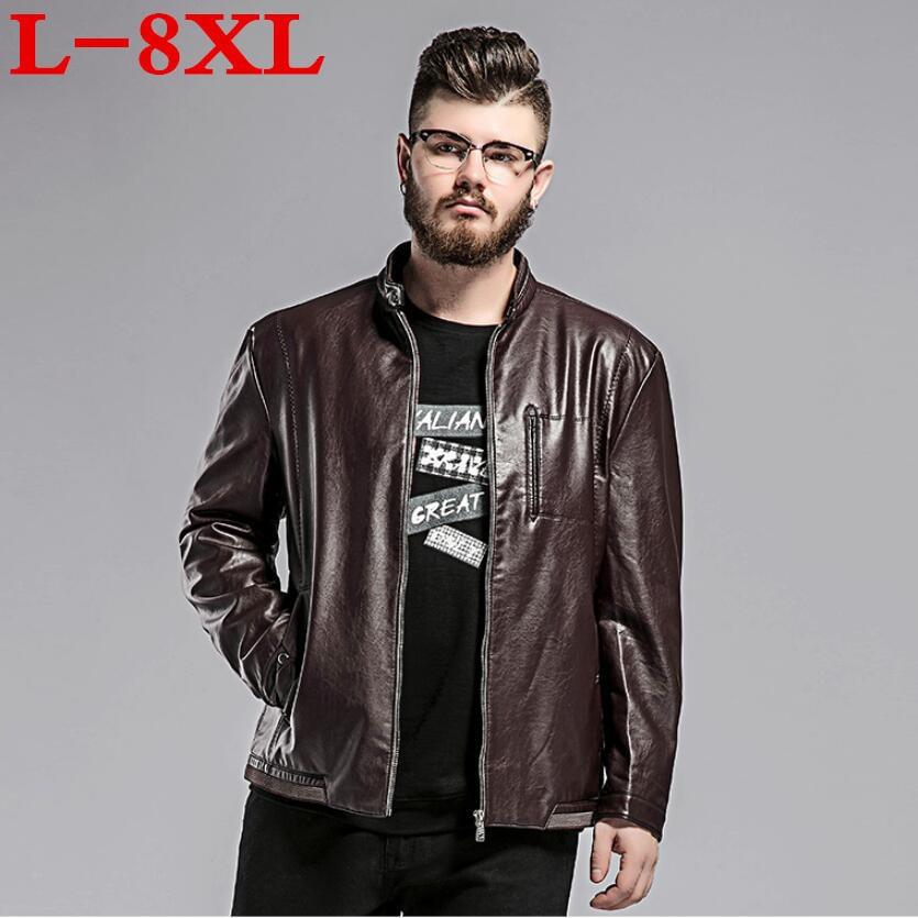 new plus size 8XL 7XL 6XL 5XL Autumn New Mens Leather Jacket Baseball PU Leather Coat Male Motorcycle Jacket chaquetas hombre