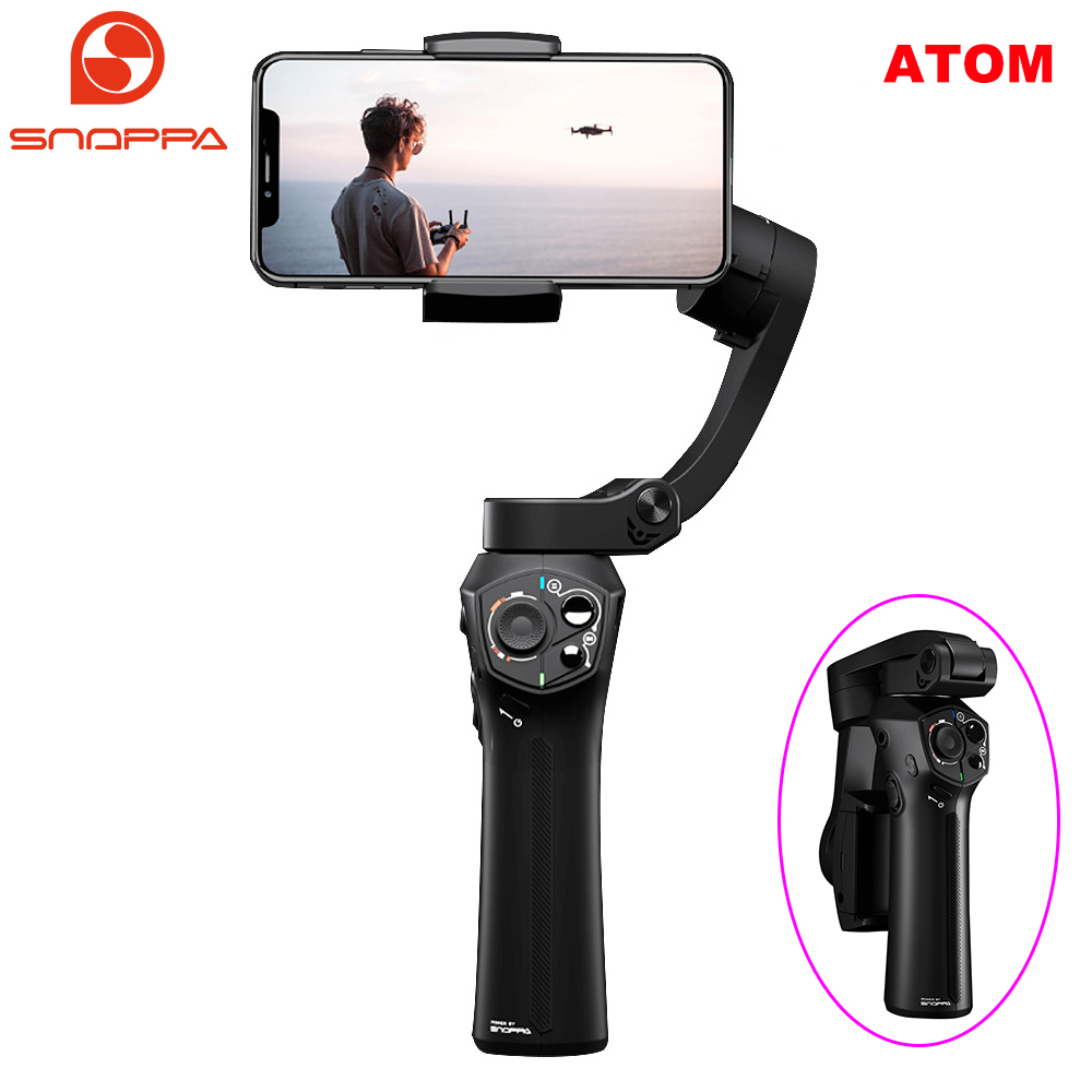 Snoppa Atom 3-Axis Foldable Pocket-Sized Handheld Gimbal Stabilizer for iPhone XS X 8Plus Smartphone GoPro & Wireless Charging