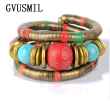 GVUSMIL Fashion Bead Bracelet Wrap Bangles For Women Tibetan Stone Inlay Roundness Adjust Bangle  BR350