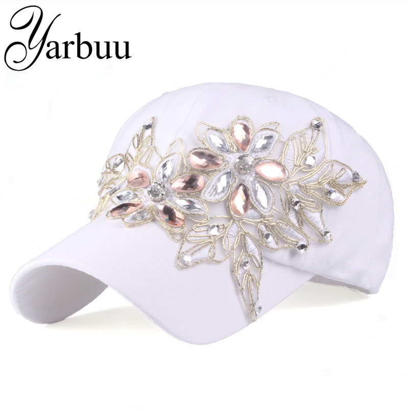 [YARBUU]Brand   Baseball     Cap   with Rhinestone women casual snapback hat for flower new fashion solid summer sun lady hats wholesale