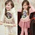 Мода нова 2015 весна осень Ретро аватара Пользователя рисунок длинный рукав девушки платье туту платье костюм 2 ~ 7 возраст ребенка дети платье