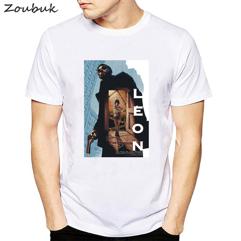 Classic French Movie The Professional Leon Mathilda Printed   T     Shirt   Men harajuku graphic   T  -  Shirt   summer white short sleeve tops