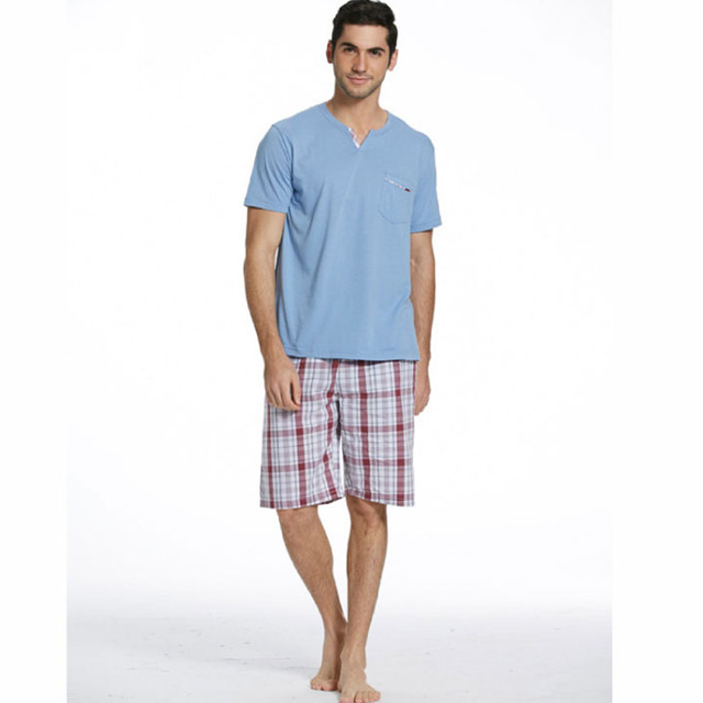 Men 's summer cotton knitted short - sleeved pajamas suit cotton plaid home suits