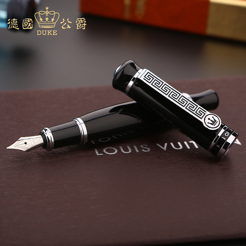 Germany Duke 558 Luxury Black Thick Body Fountain Pen High Quality Metal Gift Pen with Original Case 0.5mm Ink Pens for Busniess duke classic confucius bamboo 1 2mm curved tip iridium nib metal fountain pen with luxury original gift box ink pens for gift