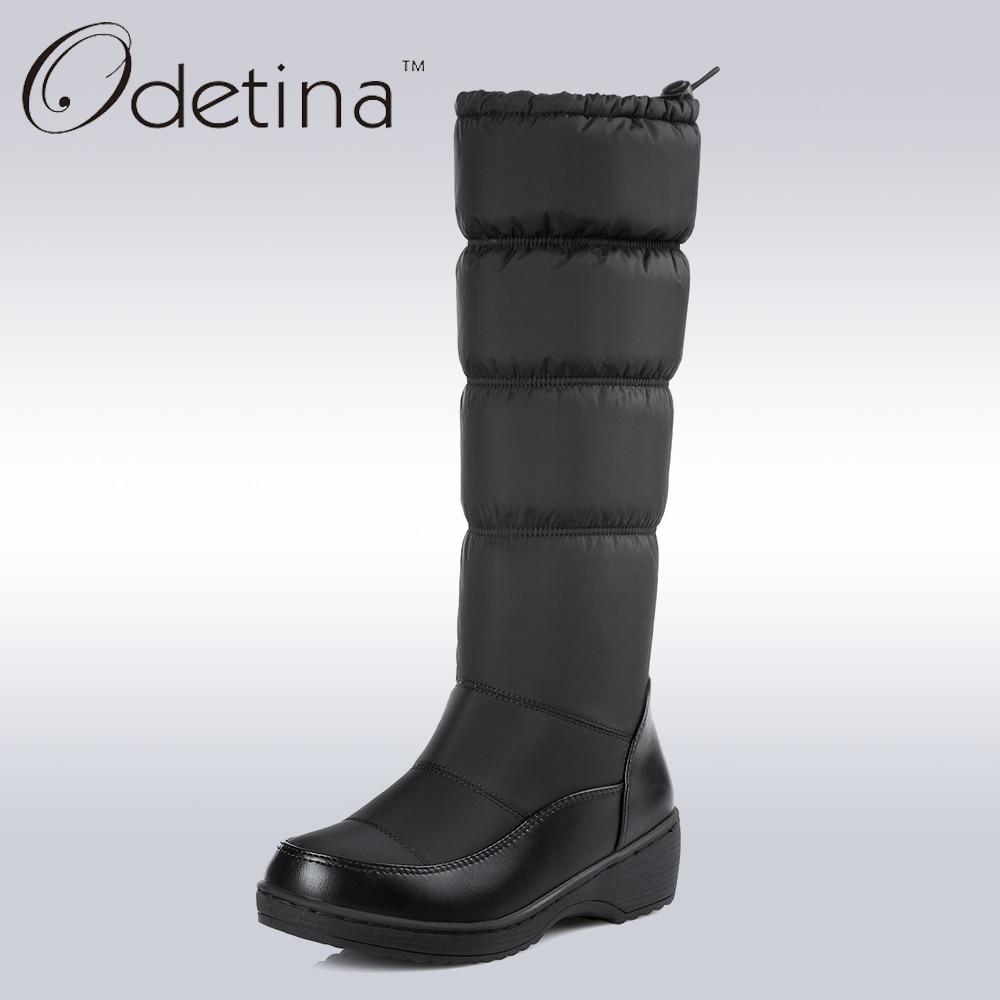 Odetina/Водонепроницаемые зимние ботинки большой Размеры Для женщин сапоги до колена без каблука Каблучки ручной работы Зимние сапоги, модель 2017 года Для женщин модная обувь бренд