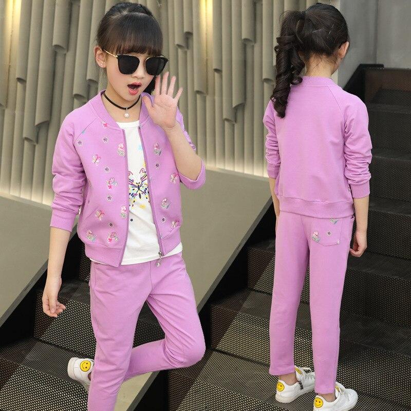 Printemps automne filles adolescentes survêtement filles vêtements ensembles enfants survêtements Sportswear filles enfants 3 pièces ensemble H145