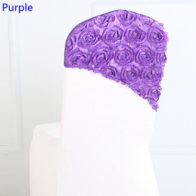 Purple colour embroider rosette satin chair sash wedding decoration chair covers hood lycra band fit all chairs wholesale