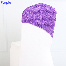 Purple colour embroider rosette satin chair sash wedding decoration chair covers hood lycra band fit all chairs wholesale(China)