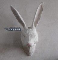 Моделирование милый белый кролик голова 40x22x35 см игрушка модель полиэтилен и меха Кролик модель украшения дома реквизит, модель подарок d168