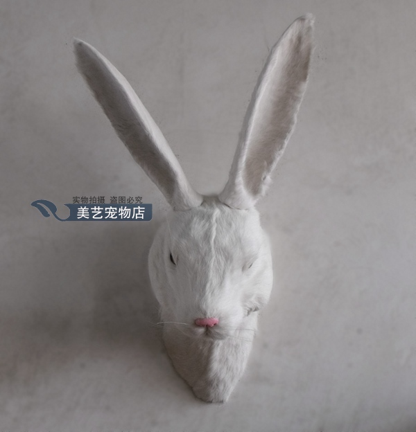 simulation cute white rabbit head  40x22x35cm toy model polyethylene&furs rabbit model home decoration props ,model gift d168 simulation cute squatting white cat 35x15cm model polyethylene