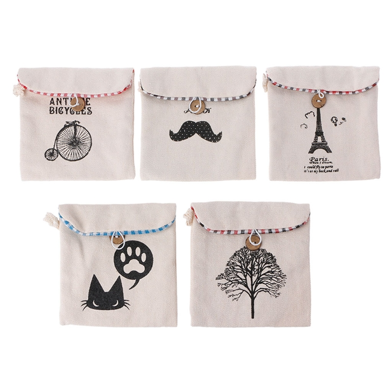 New Women Girls Sanitary Bag Napkin Pouch Holder Towel Pads Canvas Organizer