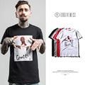 High quality hip hop black men spring summer brand male clothing rapper portrait printing man cotton short sleeve T-shirt