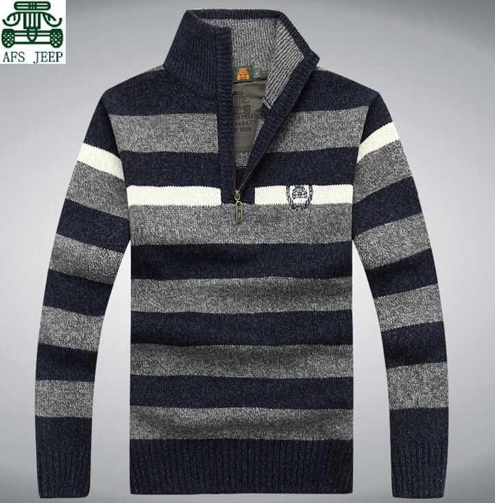 Afs Jeep 2014 Men s Sweaters Pullover Thick Man s Knitted Clothes Patchwork Strip Male Thick