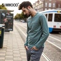 SIMWOOD Merk Lange Mouwen Mannen Tops 2018 lente Nieuwe Mode krul Zoom Pocket O hals Casual T-shirt Mannelijke Plus Size TC017007