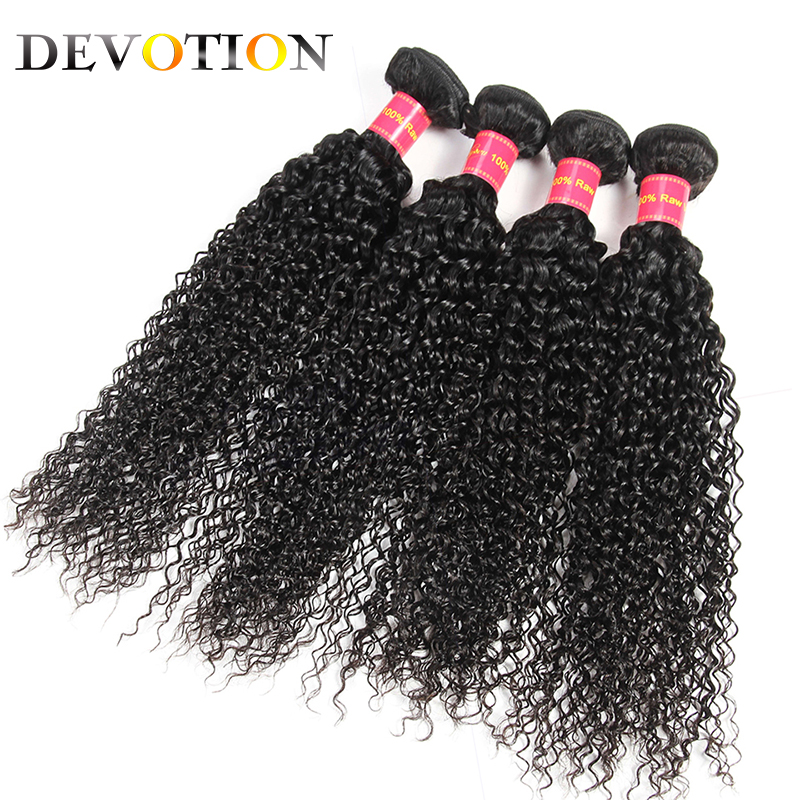 Devotion Hair Malaysian Kinky Curly 4 Bundles 100% Human Hair Natural Color Weave Bundles Non-Remy Hair Extensions Free Shipping