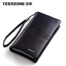 Teemzone Cowhide Men Wallets Brand Men's Clutch Bags Purses And Handbags Mens Wallet Leather Genuine Large Capacity Man Bag