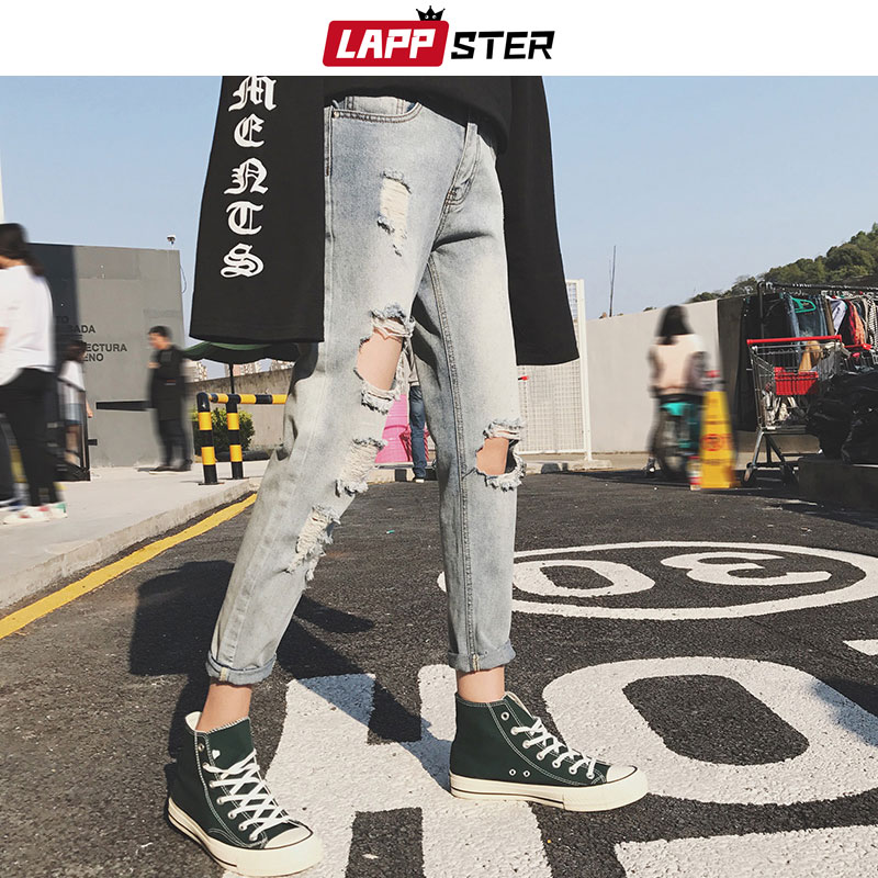 LAPPSTER Skinny Jeans Men Ripped Hole Streetwear 2020 Mens Distressed Jeans Slim Fit Male Fashion Designer Blue Denim Pants