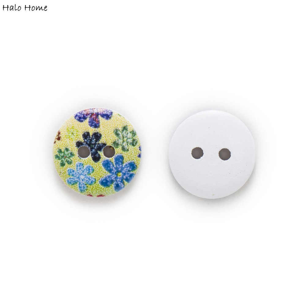 50pcs Snowflake Printing Wood Buttons for Sewing Scrapbook Handwork Decor 15mm