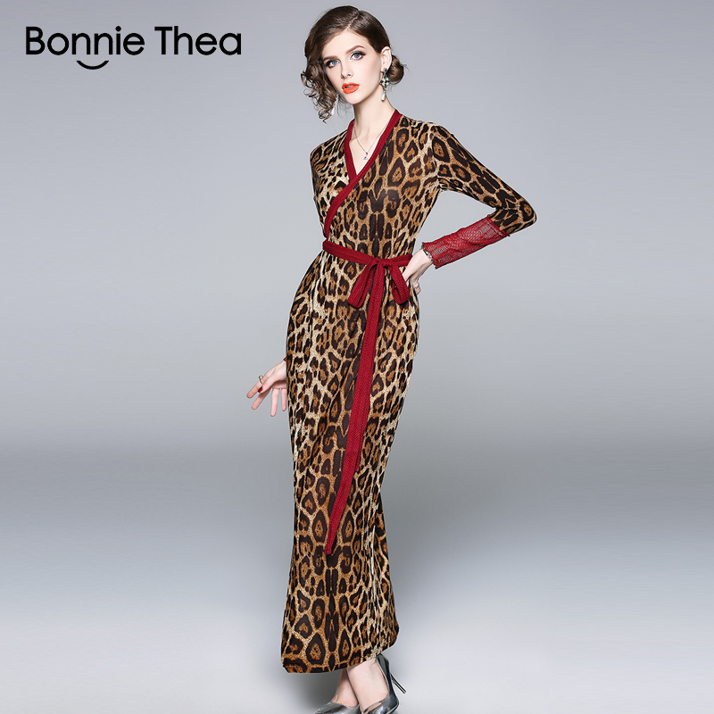 Bonnie Thea women <font><b>sexy</b></font> Leopard autumn <font><b>dress</b></font> Sheath elegant maxi <font><b>dress</b></font> boho <font><b>bodycon</b></font> party <font><b>dresses</b></font> formal fashion vestido <font><b>2018</b></font> image