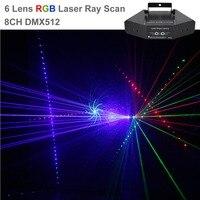 AUCD DJ 6 Объектив RGB луч сети замечательный DMX Лазерная сценическое освещение дома свадьба для отдыха и вечеринок шоу проектор световой эффект