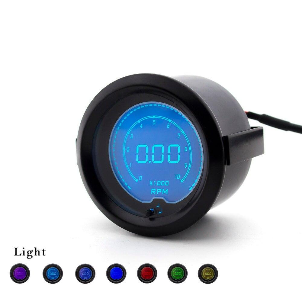 Nova 52 MM 7 Cores Display Medidor de Rpm Tacômetro Digital Do Carro Ajustável LCD Carro Medidor De Rpm Medidor TT100115